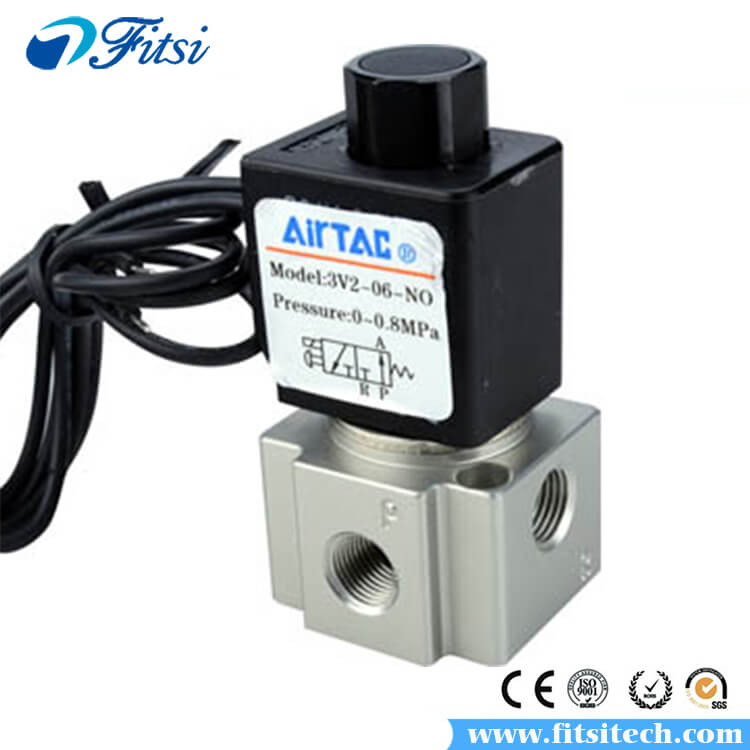 AirTAC Original 3 Way 2 Position Pneumatic Electric Directional Control Solenoid Valve 3V206 3V208