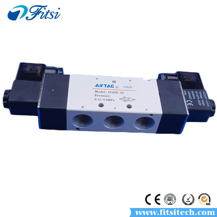 AiRTAC Pneumatic Solenoid Air Valve 4V410-15 4V420-15 5 Way 2 Position Single Electrical Control